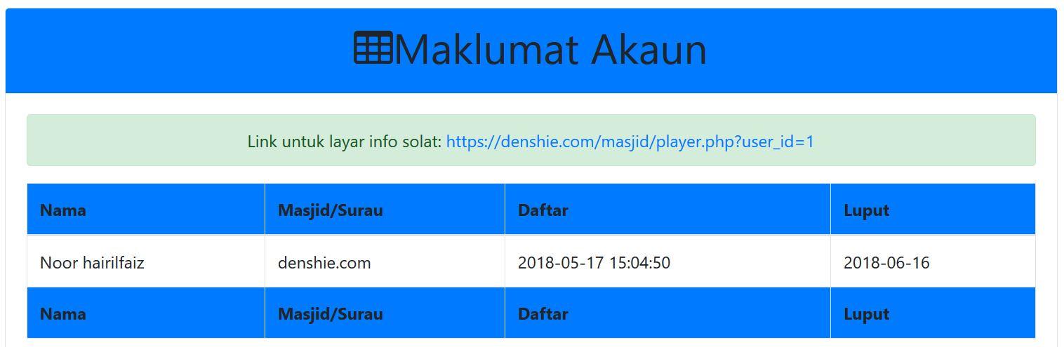 status dan Link layar